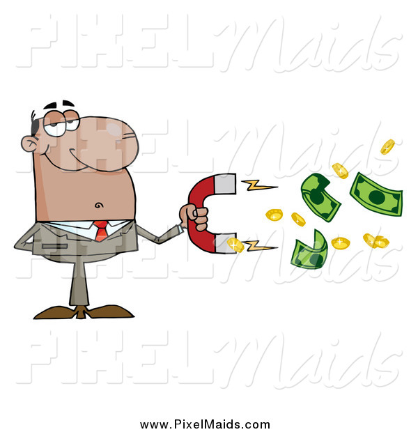 Clipart of a Successful Black Businessman Collecting Cash with a Money Magnet