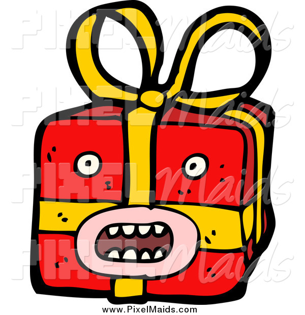 Clipart of a Surprised Christmas Gift