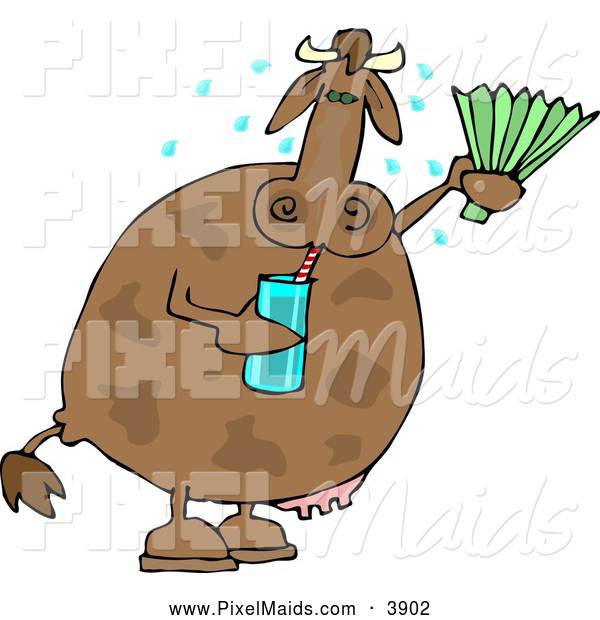 Clipart of a Sweating Hot Cow Drinking Water and Using a Foldable-fan