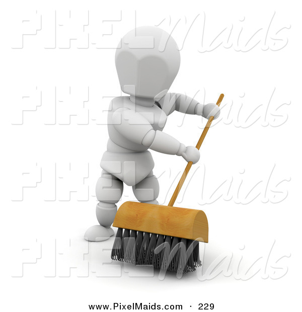 Clipart of a Sweeping White Character Man Cleaning a Floor with a Push Broom with Black Bristles