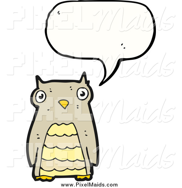 Clipart of a Talking Brown Owl