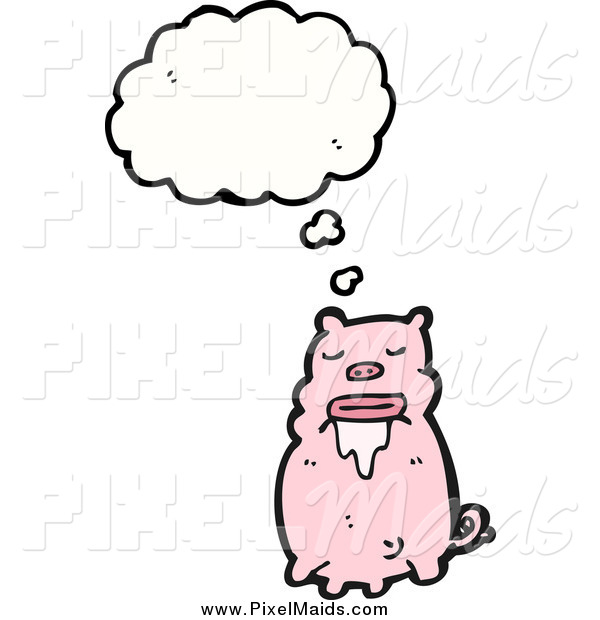 Clipart of a Thinking and Drooling Pig
