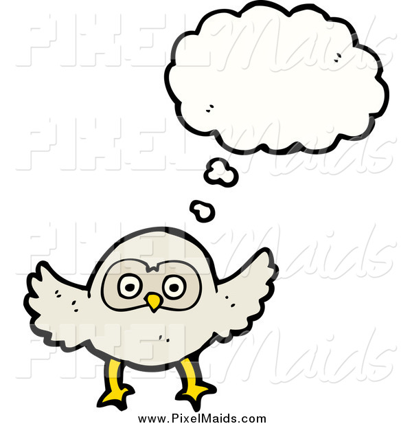 Clipart of a Thinking White Owl