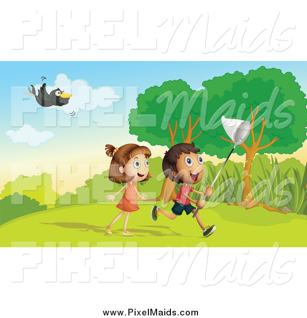 Clipart of a Toucan Flying over Children Chasing Bugs
