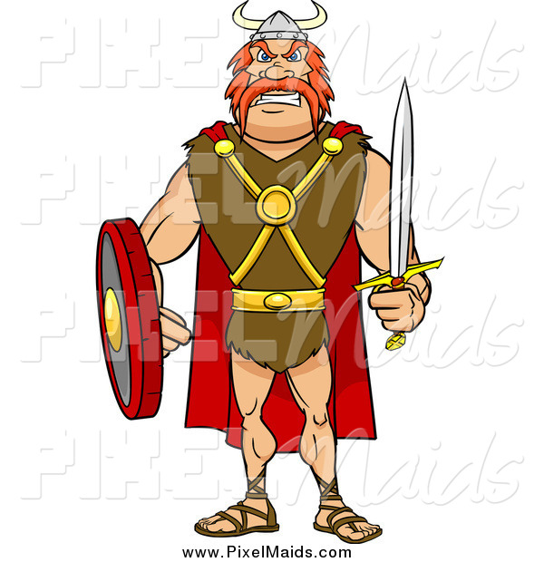 Clipart of a Tough Red Haired Viking Warrior with a Sword and Shield
