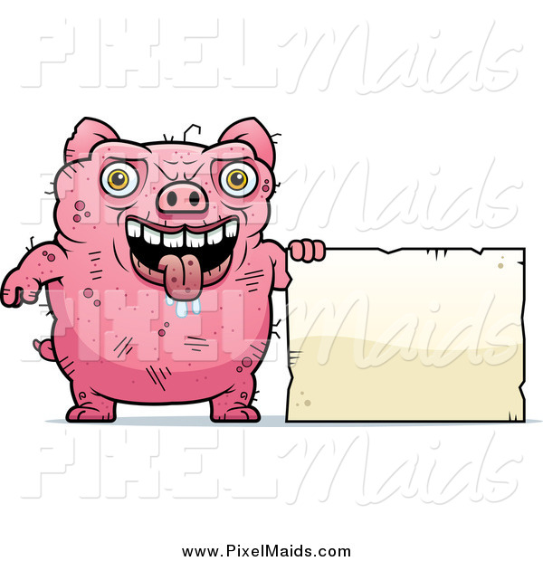 Clipart of a Ugly Drooling Pig with a Sign
