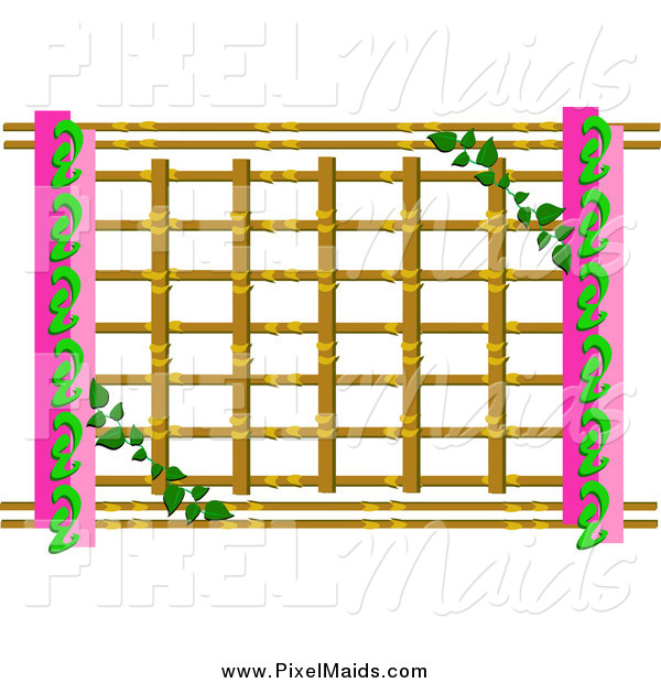 Clipart of a Vine Growing on Lattice with Pink