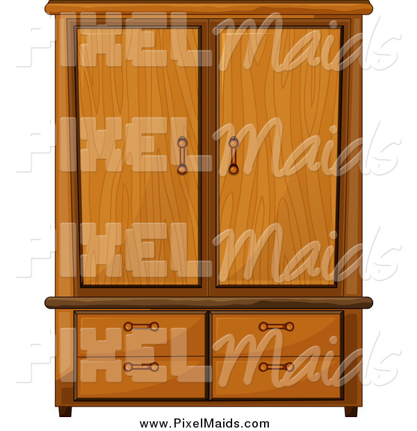 Clipart of a Wardrobe Armoire Closet