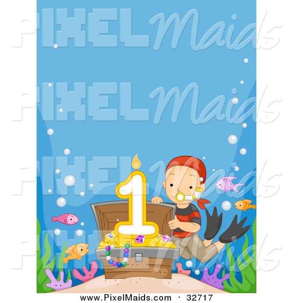 Clipart of a White Boy Revealing a First Birthday Candle in a Sunken Treasure Chest with Copyspace
