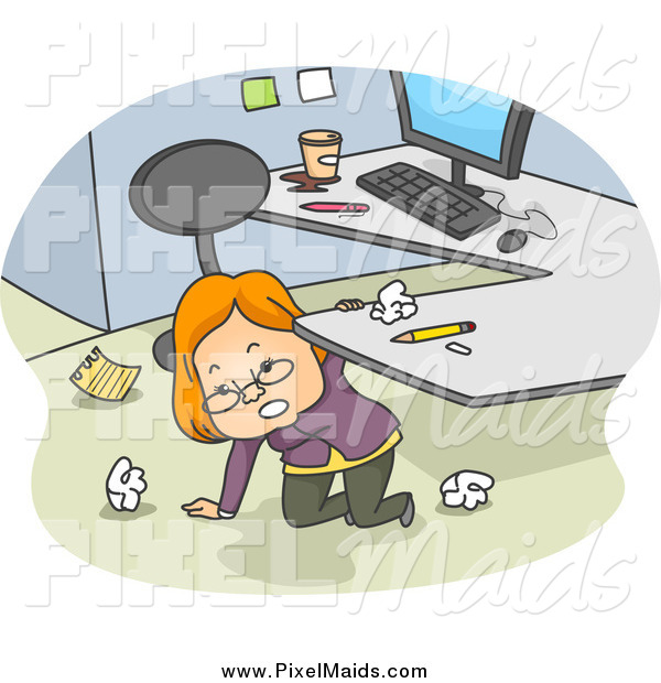 Clipart of a White Businesswoman Kneeling Under Her Desk and Cleaning up Her Office Space