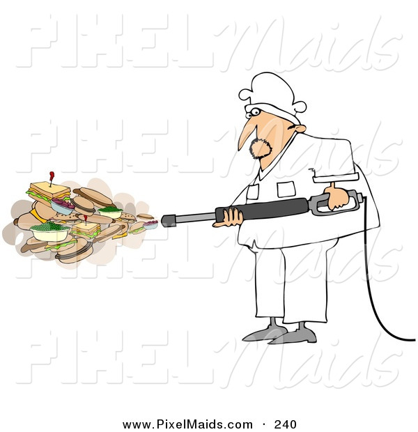 Clipart of a White Chef Spraying Sandwiches and Foods out of a Pressure Washer