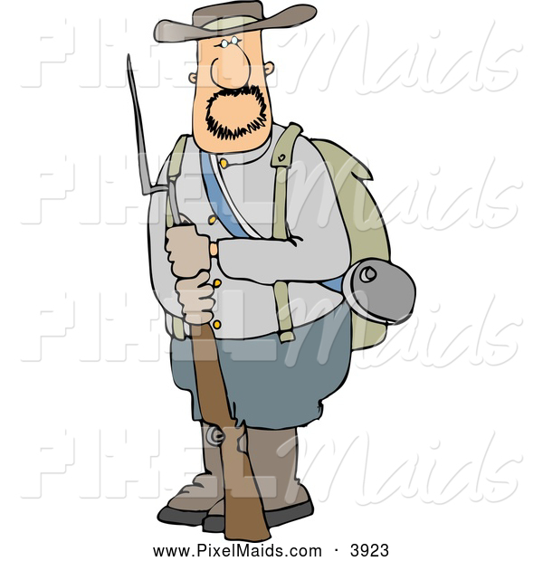 Clipart of a White Confederate Army Soldier Holding a Rifle with a Bayonet