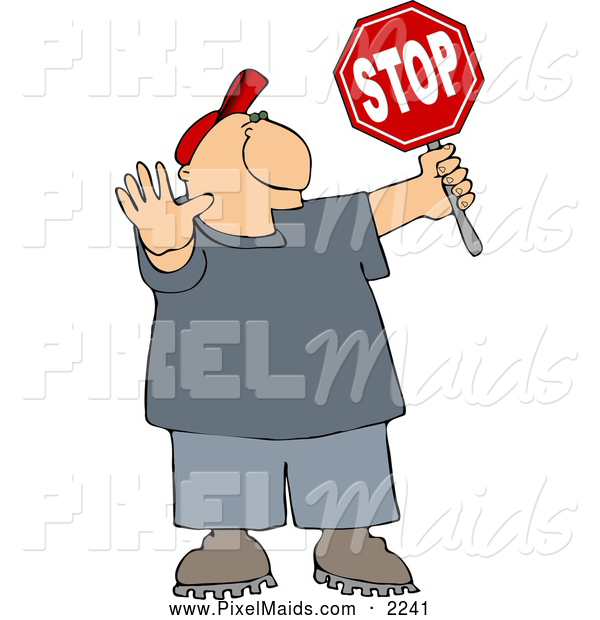 Clipart of a White Cross Guard Man Stopping Traffic so Pedestrians Can Cross the Street