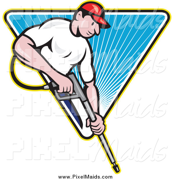 Clipart of a White Male Pressure Washer Worker over a Blue Triangle of Rays