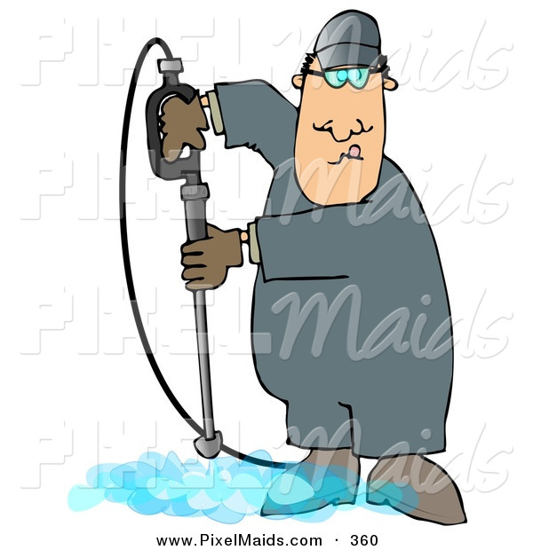 Clipart of a White Man Cleaning a Floor with a Pressure Washer