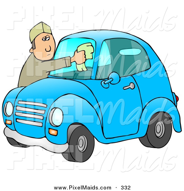 Clipart of a White Man Leaning over the Hood of His Cute Blue Compact Car to Clean the Bug Guts off of His Dirty Windshield While Stopped at a Gas Station