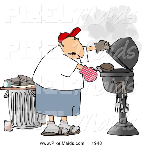 Clipart of a White Man Putting a Hamburger on a Barbecue (BBQ) Grill