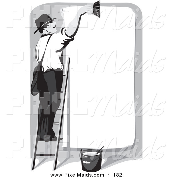 Clipart of a White Man Smiling and Standing on a Ladder, Cleaning off a Blank Billboard, Preparing for the Next Advertisement