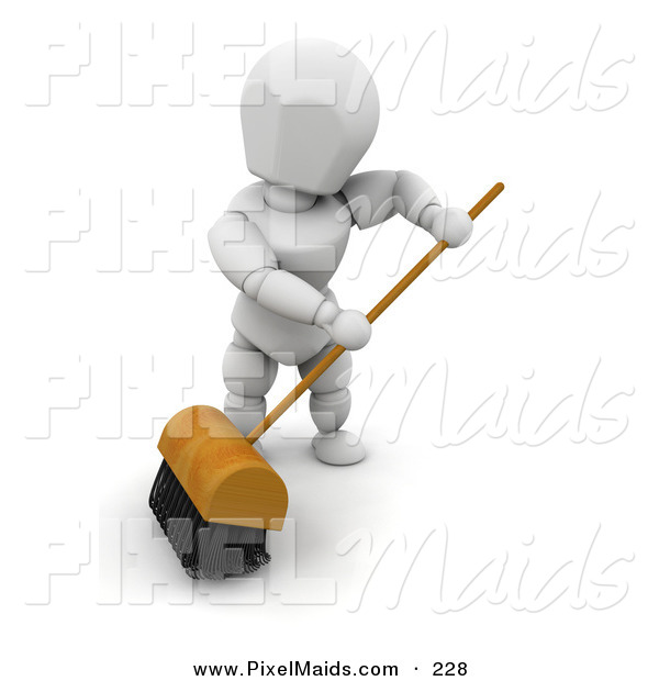 Clipart of a White Man Sweeping a Floor with a Big Push Broom with Black Bristles