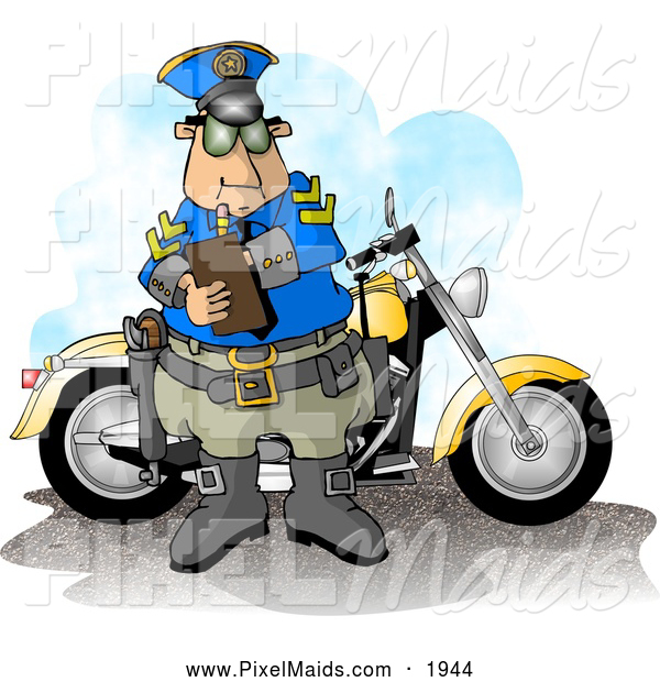 Clipart of a White Motorcycle Policeman Filling out a Traffic Citation/Ticket Form