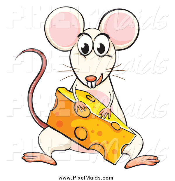 Clipart of a White Mouse with a Cheese Wedge