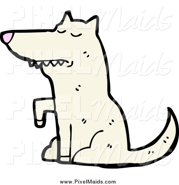 Clipart of a White Wolf Sitting and Lifting a Paw