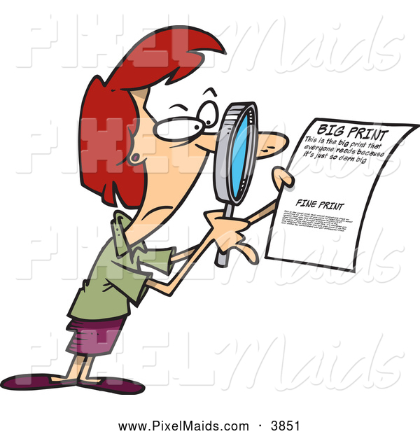 Clipart of a Woman Using a Magnifying Glass to Read the Fine Print on a Document, on White
