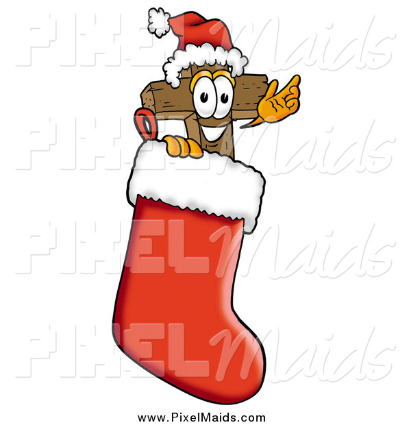 Clipart of a Wooden Cross Mascot Waving in a Christmas Stocking
