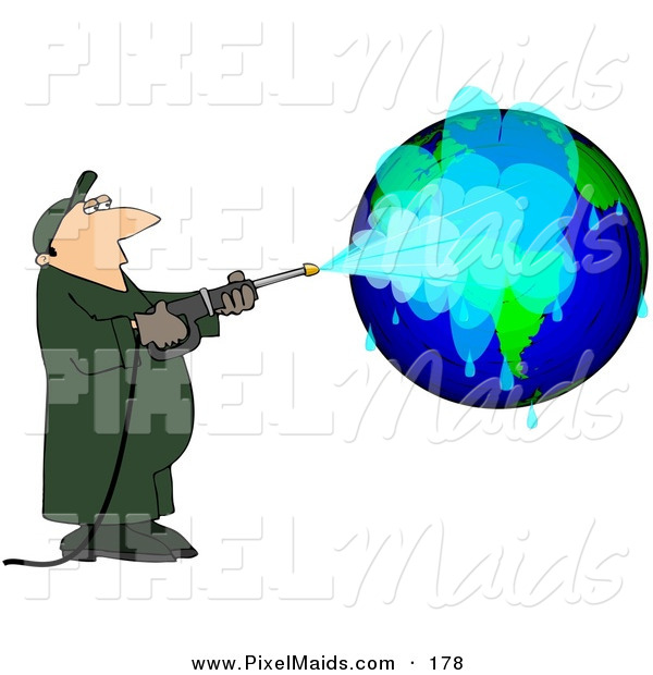 Clipart of a Worker Man Pressure Washing a Globe on White