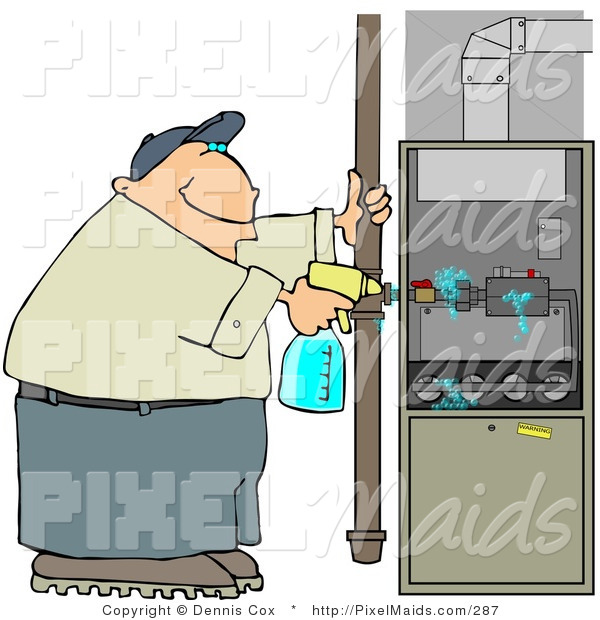 Clipart of a Worker Man Spraying a Cleaning Solvent on a Standard Household Furnace