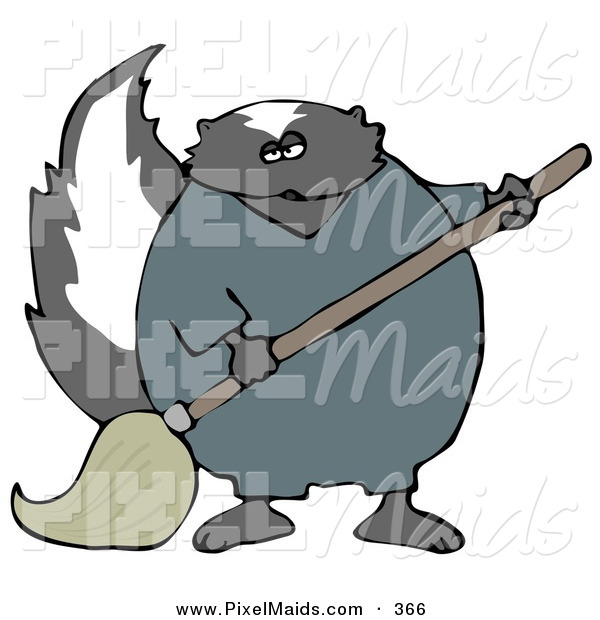 Clipart of a Working Black Skunk in Coveralls, Mopping up a Mess on a Floor
