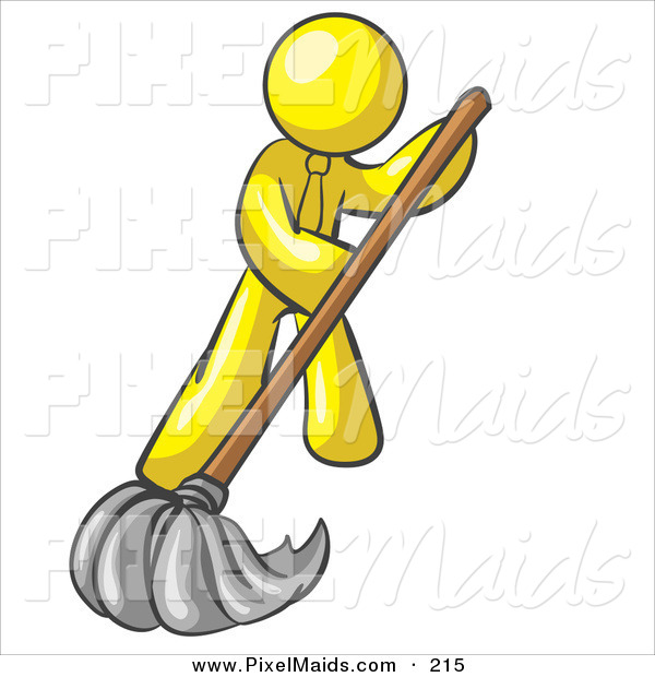 Clipart of a Yellow Businessman Wearing a Tie, Using a Mop While Mopping a Hard Floor to Clean up a Mess or Spill