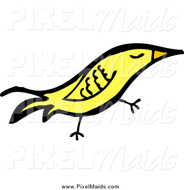 Clipart of a Yellow Happy Bird
