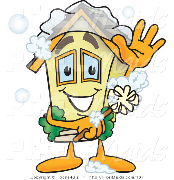 Clipart of a Yellow Home Mascot Character Scrubbing Itself with a Brush