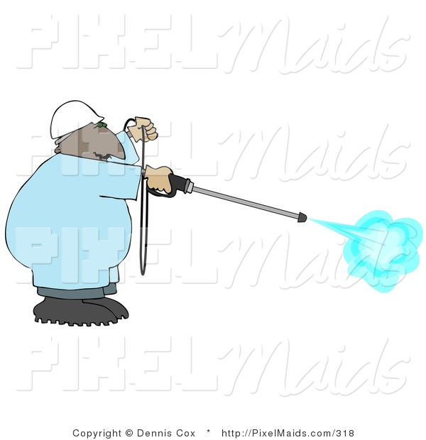 Clipart of an African American Professional Man Using a High Powered Water Pressure Washer