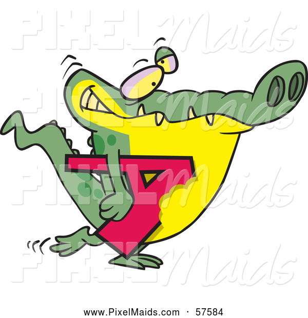 Clipart of an Alligator Walking and Carrying a Bitten Letter a