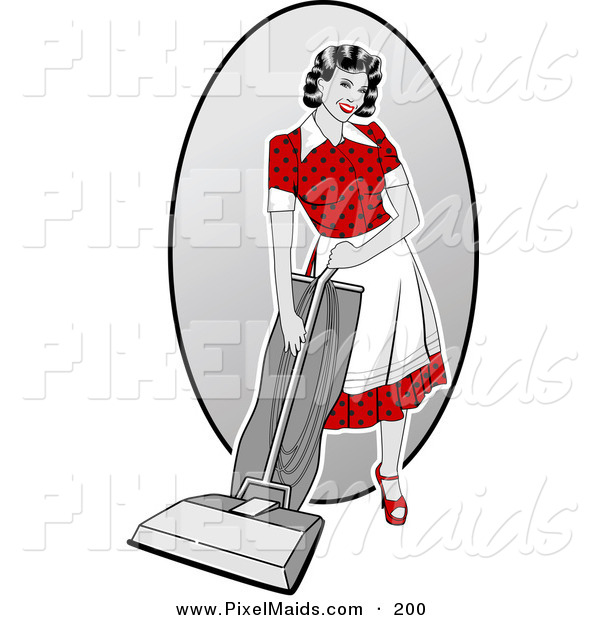 Clipart of an Attractive Retro Woman Vacuuming the House