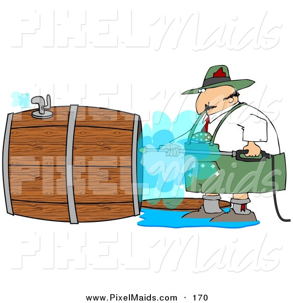 Clipart of an Oktoberfest German Man Using a Power Washer to Clean the Inside of a Wooden Beer Keg
