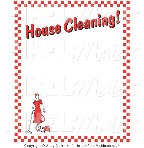 "Clipart of an Old Fashhioned Woman Vacuuming with a Canister Vacuum with Text Reading ""House Cleaning!"" Borderd by Red Checkers"