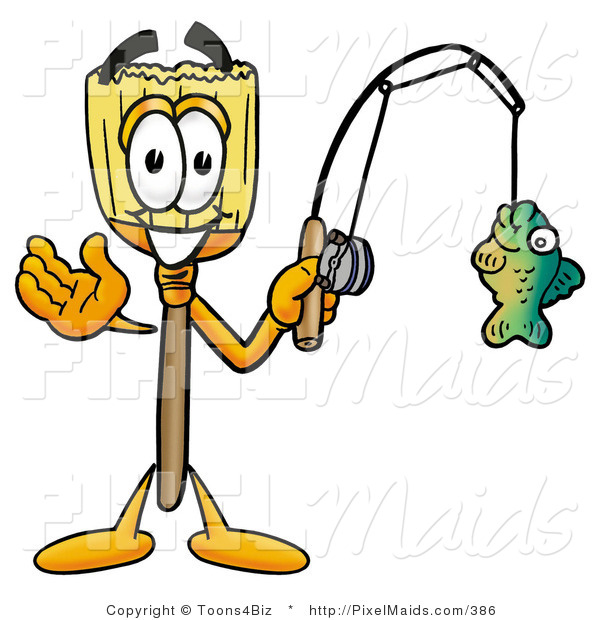 Clipart of an Outdoorsy Broom Mascot Cartoon Character Holding a Fish on a Fishing Pole