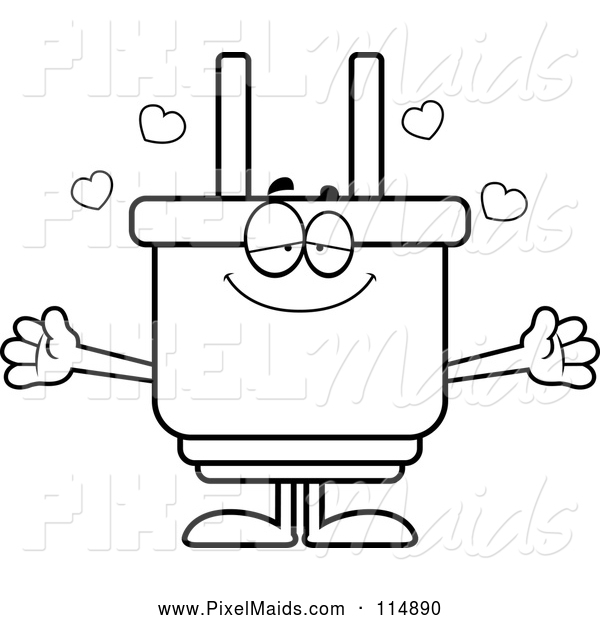 Clipart of an Outlined Loving Electric Plug Mascot Wanting a Hug