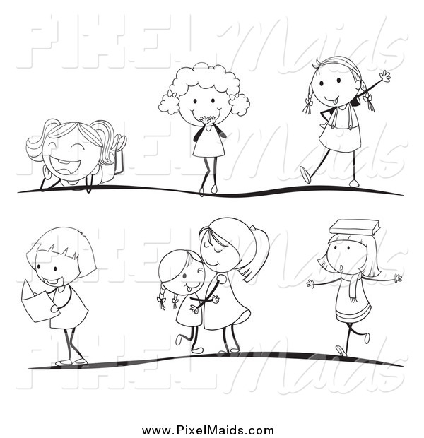 Clipart of Black and White Stick Children in Different Poses