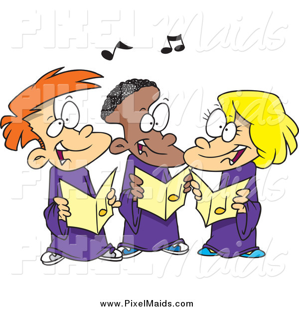 Clipart of Cartoon Happy Singing Kids in a Choir