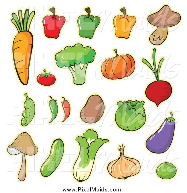 Clipart of Cartoon Vegetables