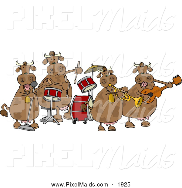 Clipart of Chubby Female Cows Playing in a Music Band