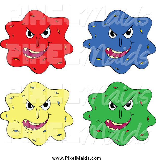 Clipart of Colorful Virus Bacteria Germs