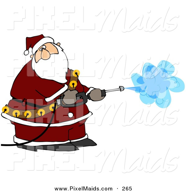 Clipart of Kris Kringle Operating a Pressure Washer on White