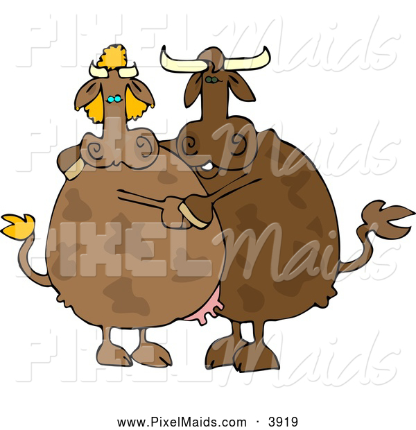 Clipart of Male and Female Brown Cows Dancing Together