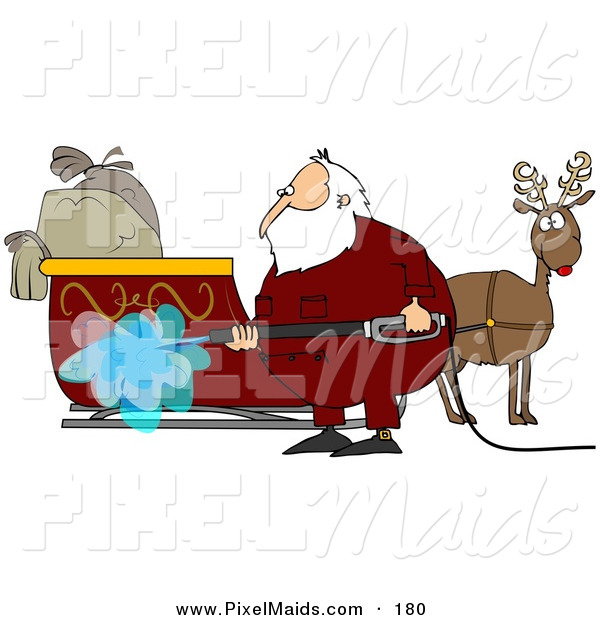 Clipart of Santa Claus Spraying down His Sleigh with a Pressure Washer