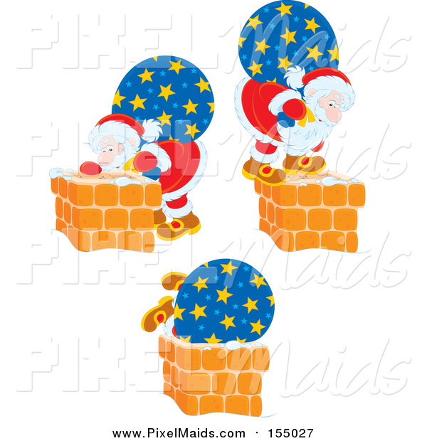Clipart of Scenes of Santa and His Bag by Chimneys